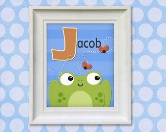 Childrens Art Print - Personalized Frog Prince 8x10 Baby Room Decor