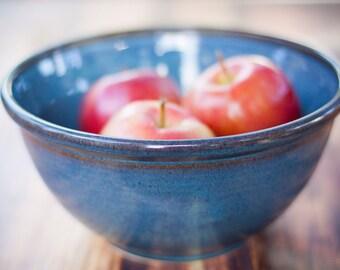 "Mixing Bowl Large Blue 9"" handmade -- Hand made stoneware ceramic serving mixing bowl - large ceramic blue mixing bowl"