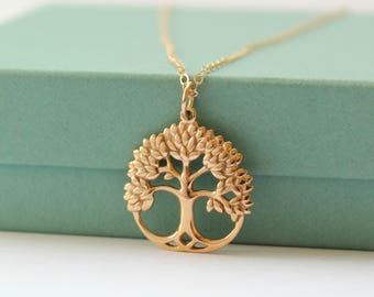 Family Tree Necklace - Tree Of Life Necklace - Gold Bronze Tree Charm Necklace - Tree Jewelry - Personalized Tree Necklace - Family Tree -