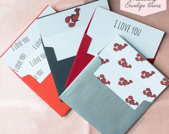Printed Matching Envelope Liner | A2 Sized Liner | Valentines Day Liner | Love Liner | Lobster | I Love You | Just Because | Card for Him