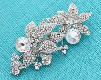 Crystal Rhinestone Brooch, Floral Brooch, Bridal Brooch, Bouquet Brooches, Wedding Brooch, Silver Rhinestone Pin, Dress Sash Brooch