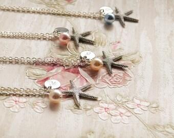 Bridesmaid necklace Starfish necklace Personalized bridesmaid jewelry with initials, Swarovski glass bead and starfish Bridesmaid gift Beach