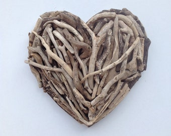 Simple driftwood heart small