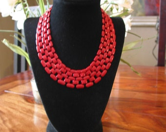 Gorgeous Vintage Napier Cherry Red Enamel And Metal Chain Link Necklace