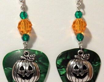 Halloween PUMPKIN Charm on Guitar Pick Beaded Earrings - Handmade in USA
