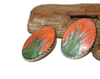 Vintage Salmon and Green Enamel Earrings, Oval Earrings, Large Stud Earrings, Swirled Enamel, 1980s Earrings, 1980s Jewelry, Gift for Her