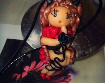 Little devil red and black satin polymer clay pendant doll necklace