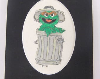 OSCAR THE GROUCH Colored Pencil Drawing