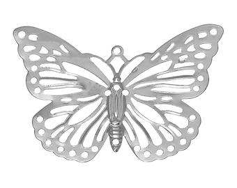 Set of 20 prints SC66702 38x26mm silver steel Butterfly charm