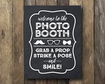 Photo Booth Printable - Instant Download 11x14 - Printable Photo Booth Sign - Chalkboard Photo Booth Sign - Photo Booth Sign Printable