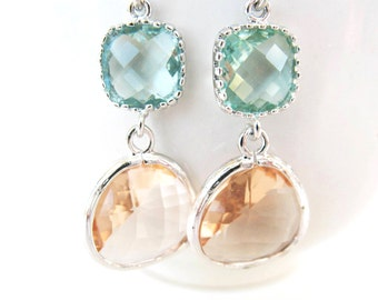 Light Green and Champagne Earrings Silver Erinite and Peach Earrings Two Tier Glass Earrings Color Block Earring Blush Bridesmaids earrings