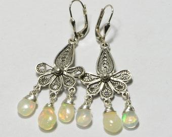 Ethiopian Welo Opal Earrings Wire Wrapped Handmade Earrings Sterling Silver Jewelry Gemstone Earrings