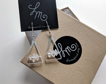 Triangulated Double Terminated Crystal Quartz Petite Hammered Sterling Earrings by LM-inspired
