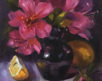 Awesome Azaleas, 8x8 oil painting on board