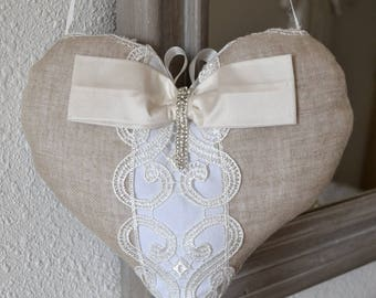 Heart shabby chic linen and cotton