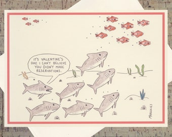 Funny Valentines Day Card, Shark Card, Valentine Dinner, Sarcastic Valentine, Quirky Valentine, Happy Valentines Day