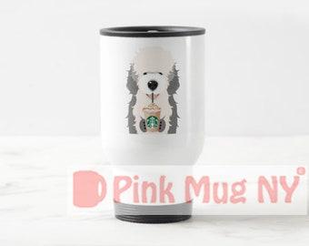 Personalized 15oz Stainless Steel Travel Mug / designed PinkMugNY - I love Starbucks - Old English Sheep Dog #2