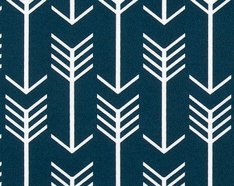 Outdoor or Indoor Navy Blue and White Arrow Fabric by the Yard Designer Easy Care Drapery Curtain or Upholstery Fabric Tribal Fabric B437