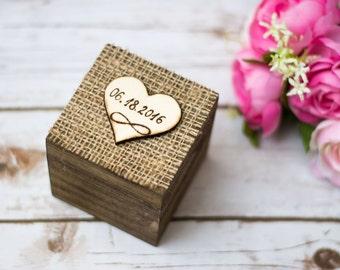 Wedding Ring Box Burlap Infinity Personalized Wooden Rustic Ring Holder Ring Bearer Ring Box