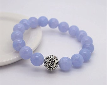 7 inches Natural 10mm Blue Lace Agate,Oxidized 925 Silver Stretch Bracelet B122