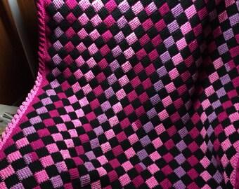 Tunisian Crochet (Entrelac) Baby Afghan/Lapghan