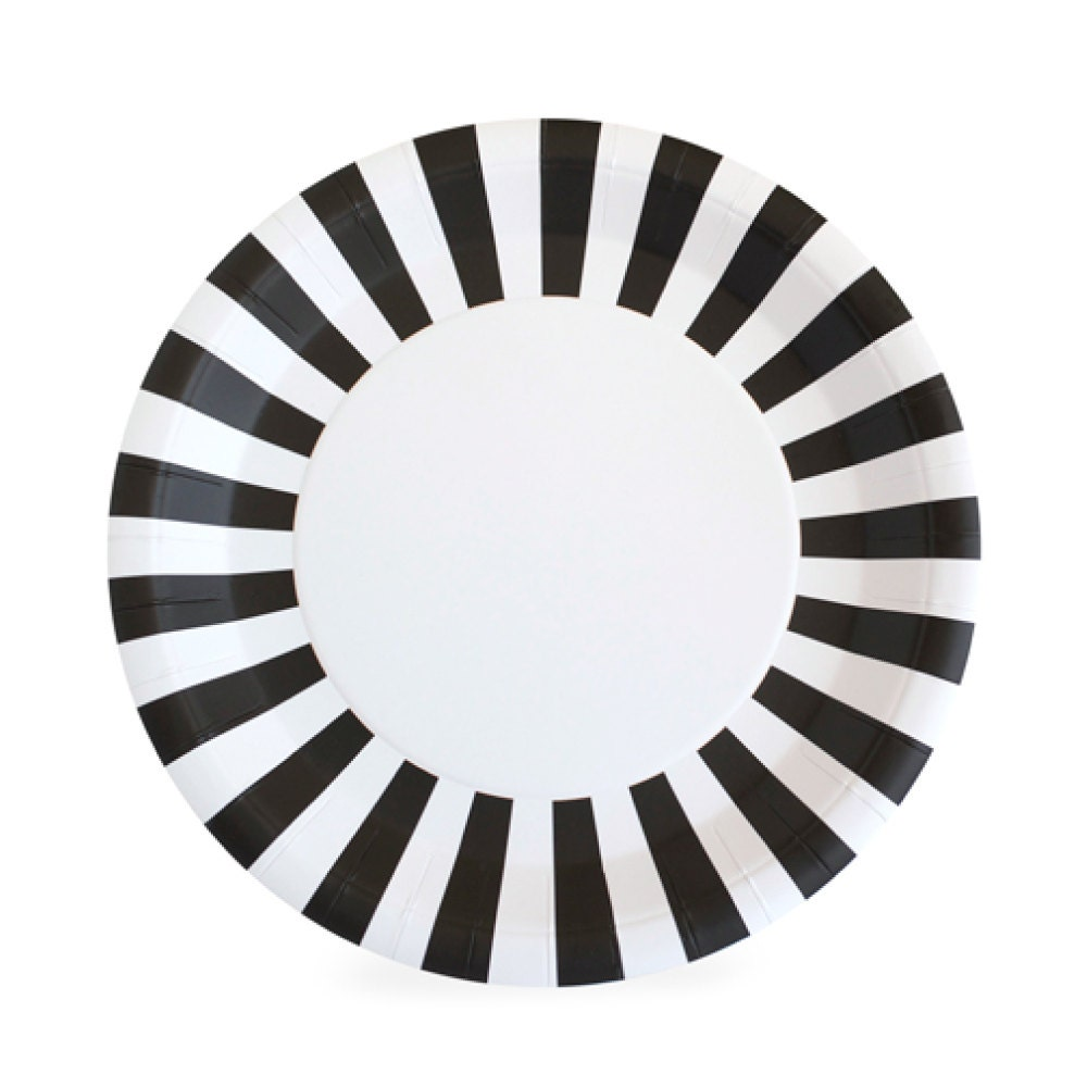 🔎zoom  sc 1 st  Etsy & Plates 9 Black Striped Paper Plates Black and White