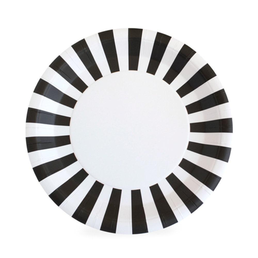 🔎zoom  sc 1 st  Etsy & Plates 9 Black Striped Paper Plates Black and White