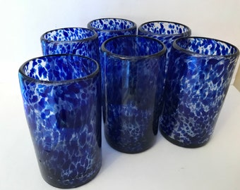 Pretty Set (6) Handmade Blown Mexican Tumblers  Drinking Glass Blue Splatter- 12 ounce