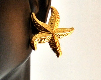Gold Tone Starfish Stud Earrings Vintage 1980 Earrings Large Starfish Studs Beach Jewelry Avon Like Earrings