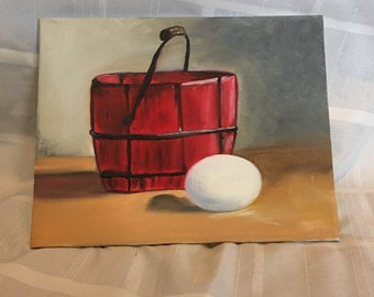 11inx14in canvas- Bucket and egg oil painting