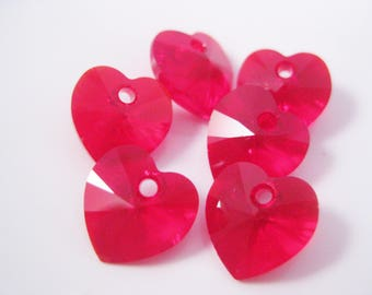 10mm Siam Red Swarovski Crystal Heart Pendants (Package of 2) July Birthstone