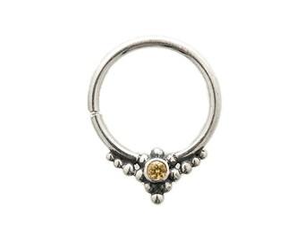 Sapphire septum Ring for pierced nose. gem piercing. nose jewelry. septum piercing. Silver septum ring. 18g septum. septum jewelry.ruby.rs37