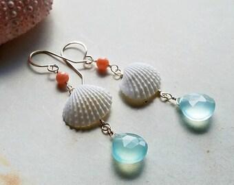 White Clam Shell Earrings, Pink Aqua Dangle Earrings, Coral Mint Dangle:  Ready Made
