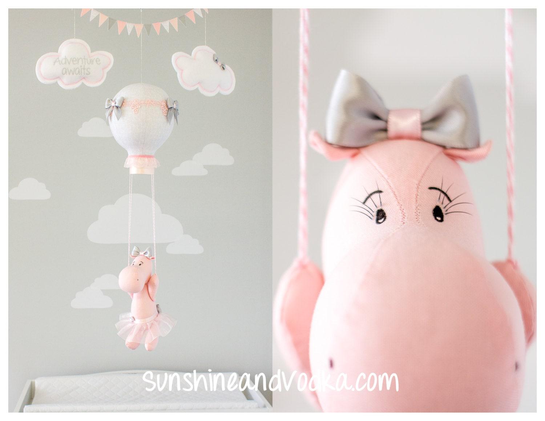 Baby-Mobile Heißluftballon Hippo Kinderzimmer Dekor