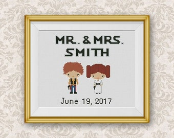 Wedding Gift Cross Stitch Pattern, Star Wars Mini Pixel People xStitch Chart, Mr and Mrs Han Solo, Pr. Leia, Personalized Gift, Modern Decor
