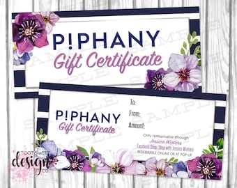 Piphany Gift Certificate, Gift Card, Personalized Coupon for Small Business, PIPHANY Cash Voucher Dollar Navy Stripe Purple Floral PRINTABLE