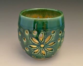 Pierced Hand Carved Votive Cup Wheel Thrown by NorthWind Pottery