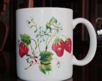 """WHITE STRAWBERRY Mug 12 Oz White Cup 4"""" High X 3 1/4"""" Across Top China Porcelain Red Berries Green Leaves Excellent Condition"""