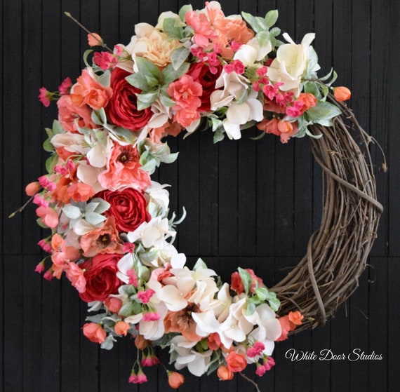 Summer Floral Front Door Wreath