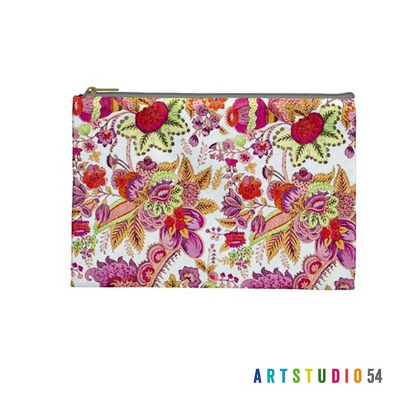 """Pink Orange Floral on a Pouch, Make Up, Cosmetic Case Travel Bag Pencil Case - 9"""" X 6"""" -  Large -  Made by artstudio54"""