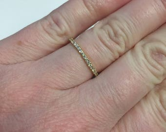Pave Diamond Wedding Ring, 14kt Yellow Gold, Finger size 6.5