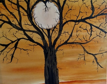 Tree of life full moon oil on wrapped canvas 16 x 20
