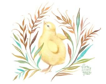 Chick Art Print | Watercolor Painting | Nursery | Farm | 8x10 | 11x14