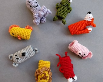 Animal Finger Puppets, Finger Puppets, Animals Crochet Finger Puppets, Crochet Toys, Farm Animal, Forest Animal, Aquatic Animal