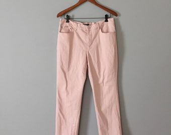 powder pink jeans || high waisted skinny jeans || Chaps jeans