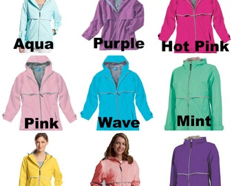 Charles River New Englander Rain Jacket with Monogram - 13 Colors to choose from - XS through 3 XL -
