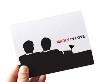 gay anniversary card // gay anniversary // madly in love mad men // i love you card // love cards // anniversary card // retro gay //