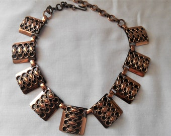 Vintage 70's ALL cooper linked Necklace