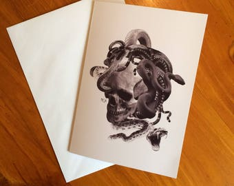 Tattoo art greeting card, Blank greeting card, Skull and snake card, Gift for tattoo lover, Birthday card, Art card, Nameless City Apparel