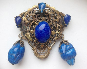 antique dress or scarf clip freeform shape blue stones brass with filigree